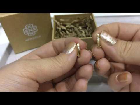 Серьги Simple 091 из красного золота 585 пробы с бриллиантами