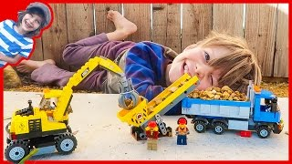 Lego City Excavator and Dump Truck Time Lapse Build