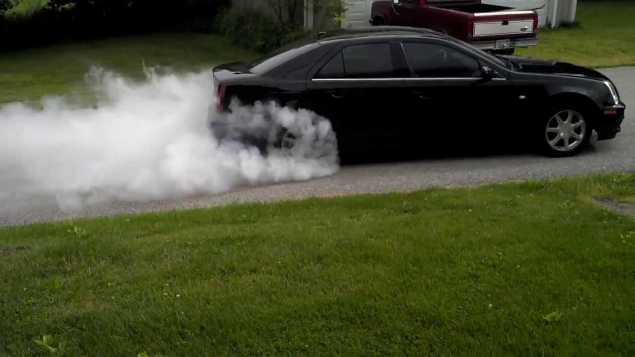 2005 Cadillac STS V8 burnout - YouTube
