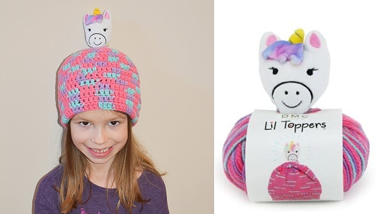 fadf6ed66c5 Crochet Lil Toppers Unicorn Yarn Double Crochet Hat - YouTube