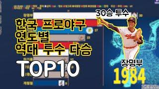한국프로야구(KBO) 역대 연도별 투수 다승 TOP 1…