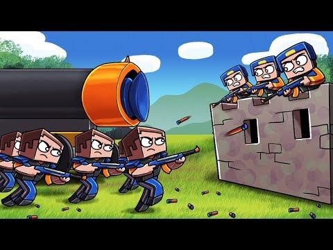 Minecraft - NERF WAR BASE CHALLENGE: Blue vs Orange! (NERF WAR MODS) thumbnail