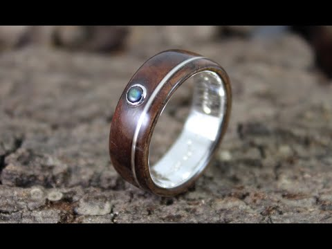 Making A Silver & Walnut Wood Ring With A Stone Setting From Start To Finish