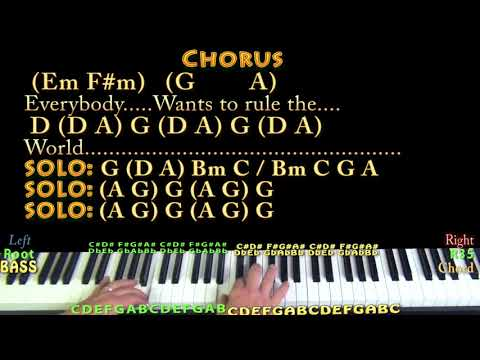Everybody Wants To Rule The World Piano Cover Lesson In D With