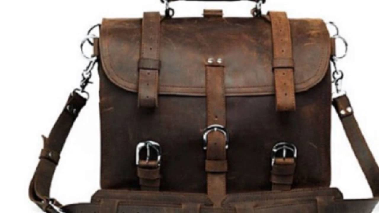 1ST Handmade Crazy Horse Leather Men's Briefcase Backpack Laptop ...