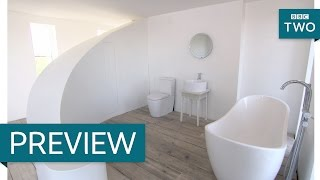 Curved open plan bathroom - The House That £100k Built: Episode 5 Preview - BBC Two