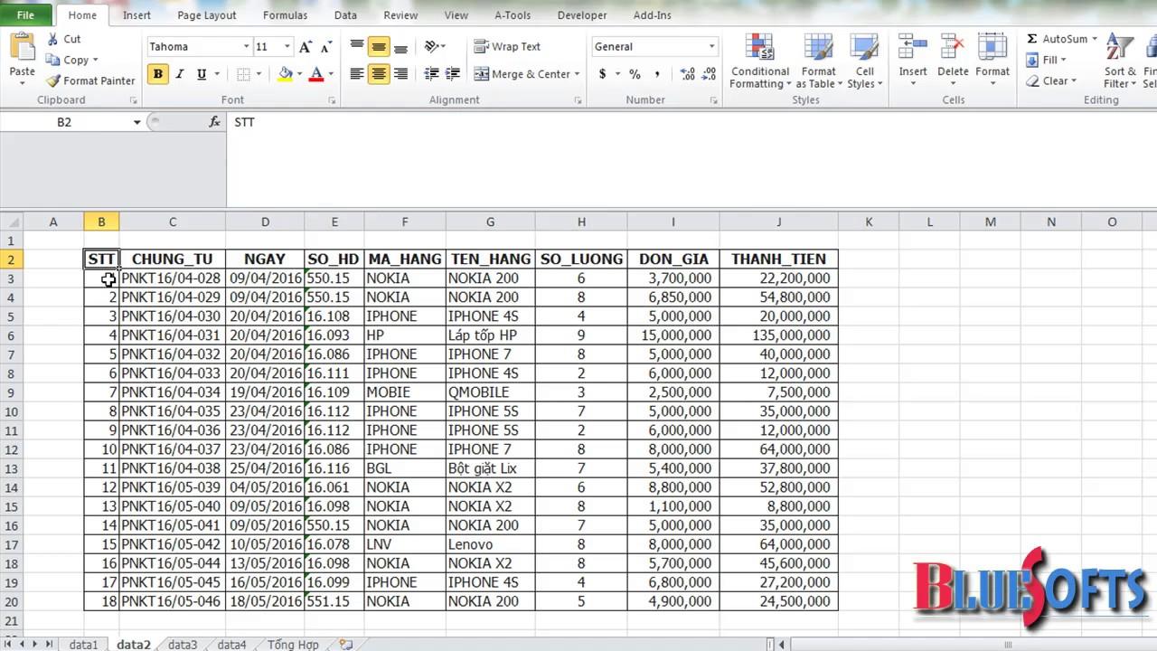 Tổng hợp dữ liệu từ nhiều sheet trong Excel có cấu trúc giống nhau