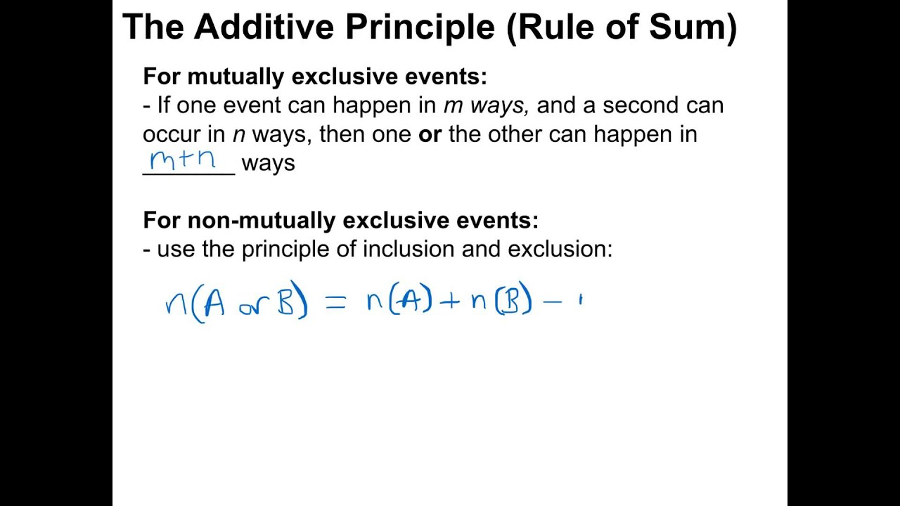 Mdm4u The Additive Principle Rule Of Sum Youtube
