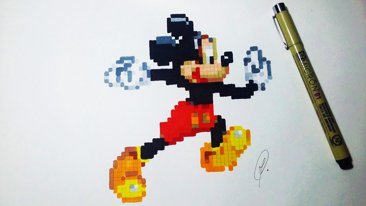 Mickey Mouse Pixel Art mickey mouse pixel art - speed drawing
