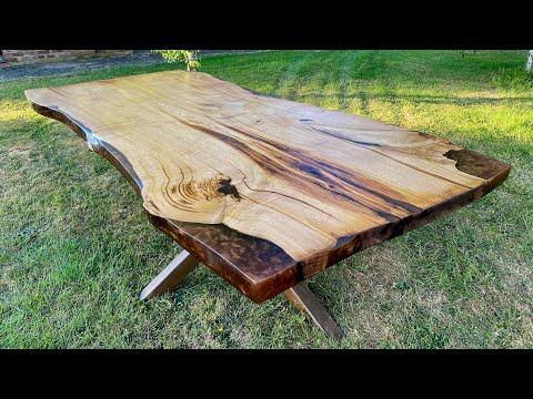 220KG ! English Chestnut & Epoxy Resin Dining Table Bronze Metal Base