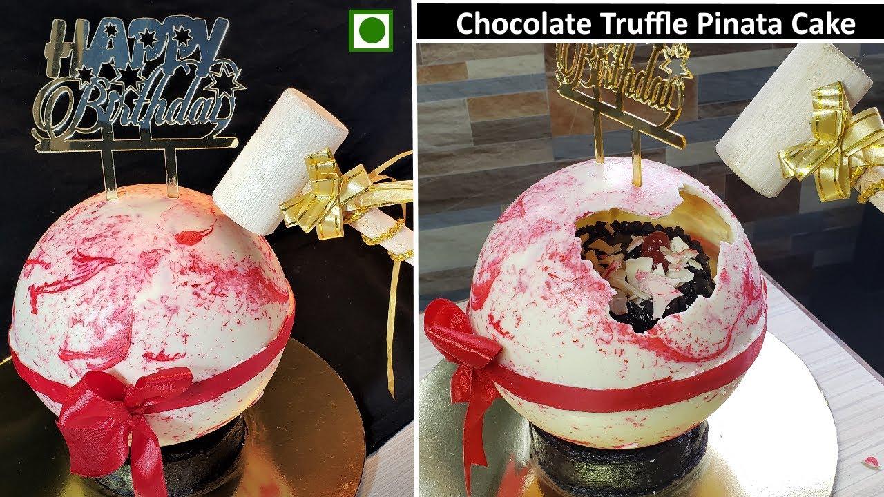 Pinata Surprise Cake Recipe | Eggless Chocolate Truffle pinata cake | Trending pinata cake | Hammer