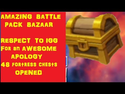 Amazing Battle Pack Bazaar (Respect To IGG). Opening 48 Fortress Chests  Castle Clash