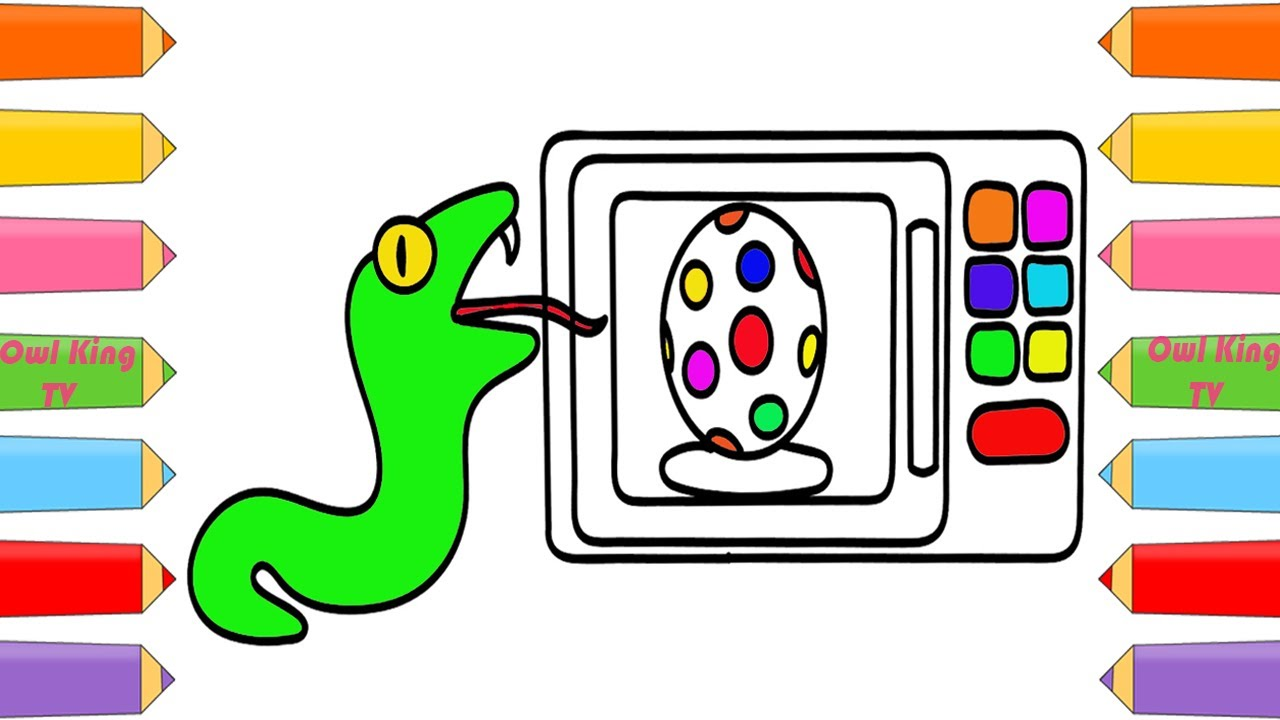 how to draw microwave surprise eggs snake learn colors coloring pages for kids w owl king tv