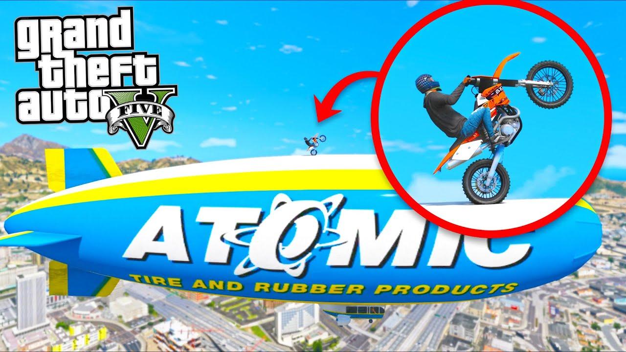 Doing WHEELIES on Top of a BLIMP!! (GTA 5 Mods)