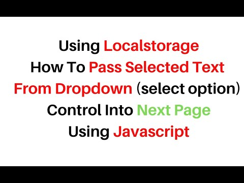 Local Storage Javascript Pass Dropdown Select Option Value To Next Page