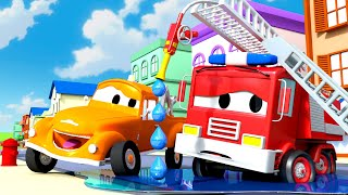 The Fire Truck can' turn off his water ! - Tom The Tow Truck in Car City | Cars construction cartoon