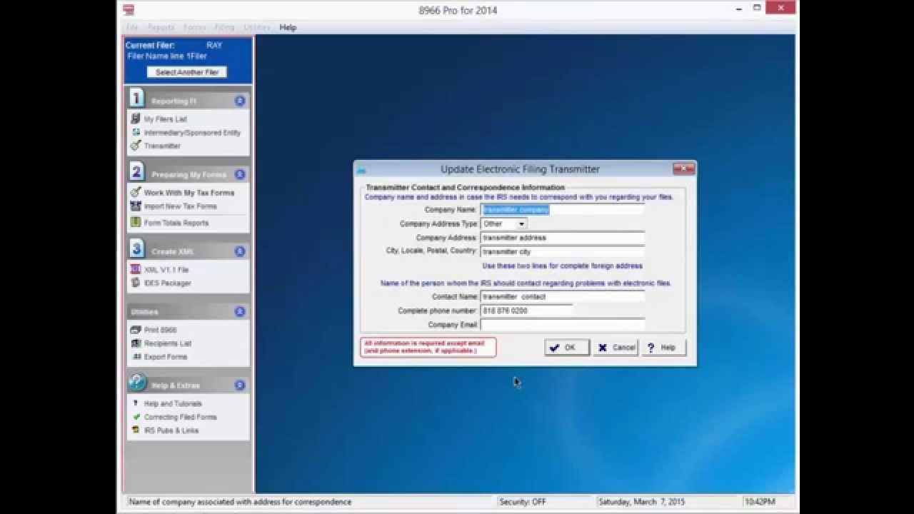 Fatca 8966 Professional Software Tutorial Youtube