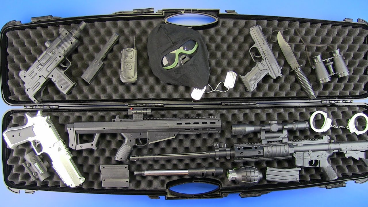 Box of Guns Toys !!! Military Guns Toys M16 rifle & equipment - Toys for  Kids