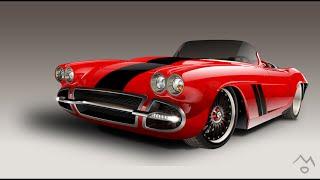 Chevrolet Corvette в программе Adobe Illustrator CS6 вектор