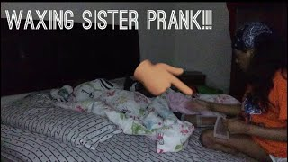Waxing sister in her sleep PRANK!!(she almost cried)
