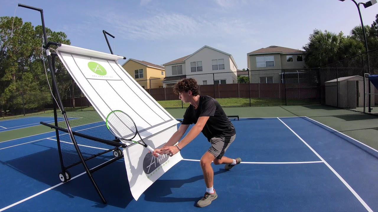 Forehand Volley Shadow swinging using tarp