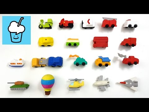 learning street vehicles name and sound for kids with eraser vehciles police fire engine