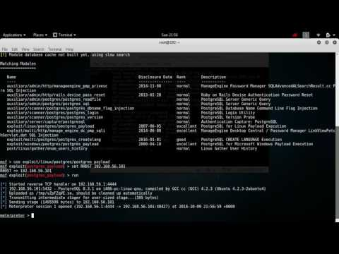 Hack Tutorial Kali Linux using Postgresql Exploit Metasploitable
