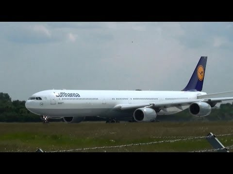 Lufthansa Airbus A340-642 D-AIHL takeoff at Hamburg Airport
