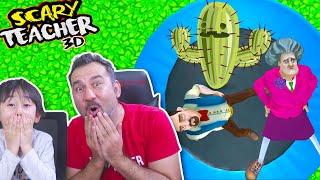 KIZGIN ÖĞRETMENE KAKTÜSLÜ TRAMBOLİN ŞAKASI! (trouble in paradise) | SCARY TEACHER 3D OYNUYORUZ!