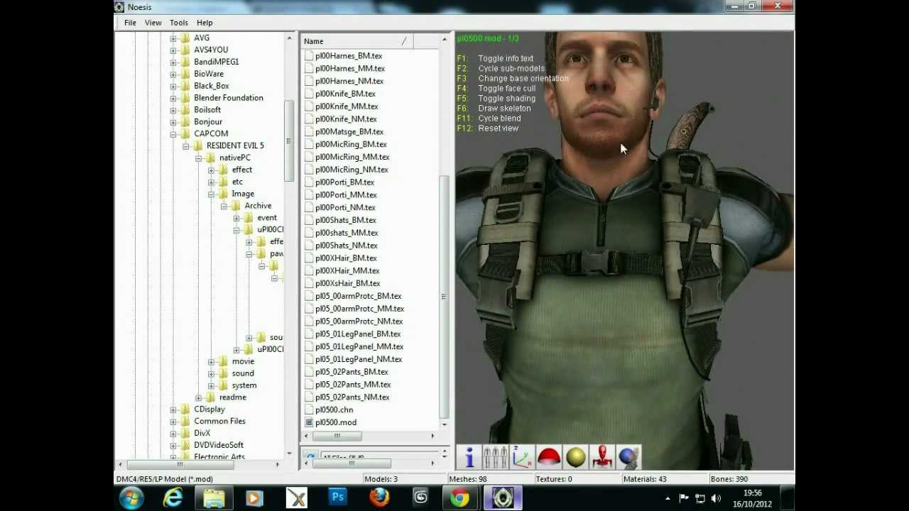 Resident Evil 5 Model Extract and texture Tutorial for 3DS MAX 2010/12 by  femalegamerUK