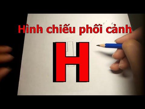 Vẽ Hình chiếu phối cảnh 1 điểm tụ của vật thể chữ H