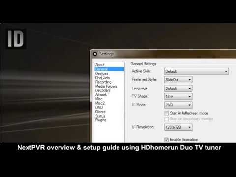 NextPVR overview and setup software