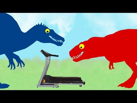 Funny Dinosaurs Cartoons - Dinosaurs On A Treadmill: Spinosaurus Vs Tyrannosaurus Rex
