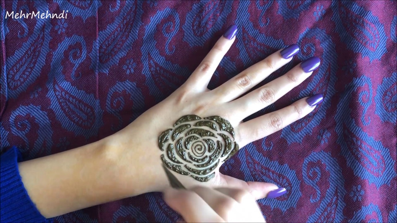 How to Draw A Rose with Henna , Rose Mehndi Design Tutorial