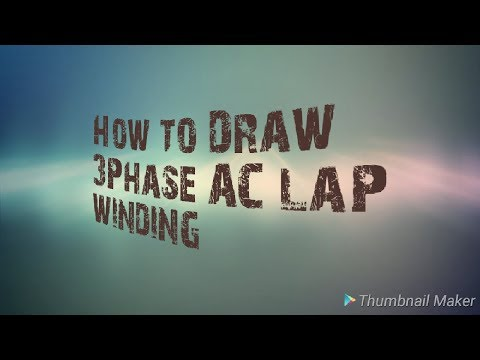 Three phase AC lap winding diagram for diploma electrical engineering