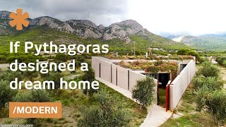 Pythagorean home amidst olive grove offers views & protection
