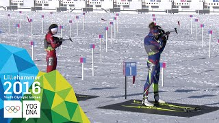 Biathlon 7.5km Pursuit - Khrystyna Dmytrenko (UKR) wins gold | Lillehammer 2016 Youth Olympic Games