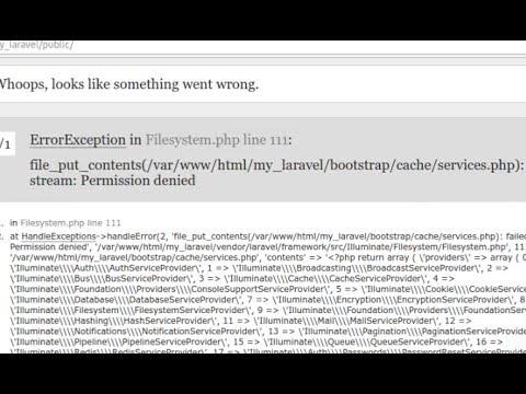 Laravel 5.4 error - file_put_contents(cache services.php) failed to open stream. Permission denied
