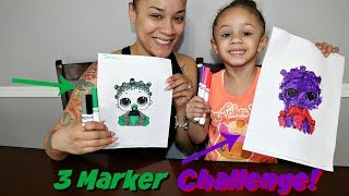 3 Marker Challenge With LOL Surprise Baby Dolls! Imani