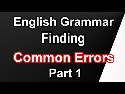 How To Find Common Errors ||English Grammar ||  Part 1