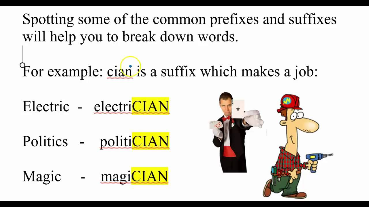 Video 2 prefixes root words suffixes youtube for Farcical root word