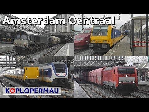 Treinen op station Amsterdam Centraal (treinen compilatie)