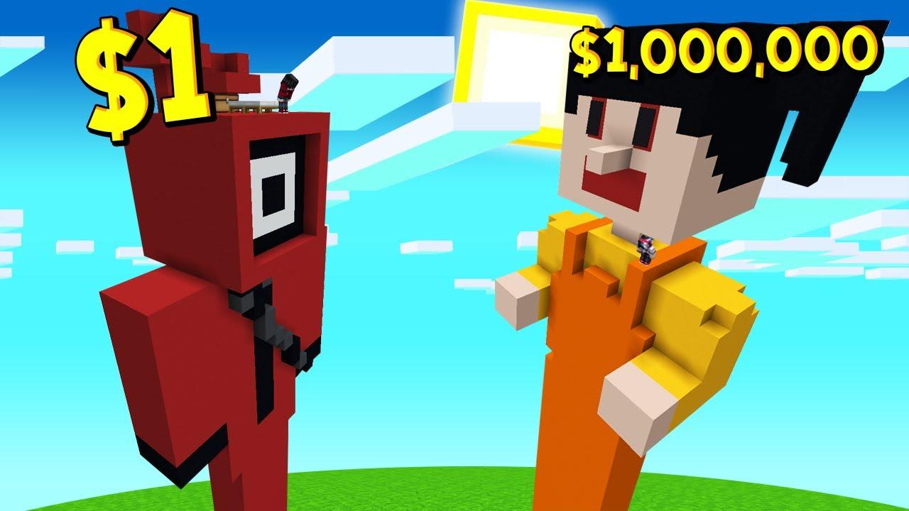 ถ้าเกิด!? เล่นเกมเสี่ยงตาย บ้านคนจน $1 เหรียญ VS บ้านคนรวย $1,000,000 เหรียญ - Minecraft SquidGame