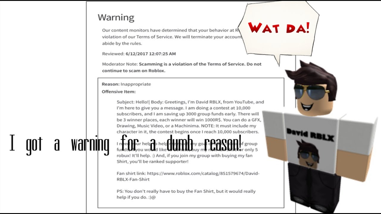 I got a warning for a dumb reason (ROBLOX) YouTube