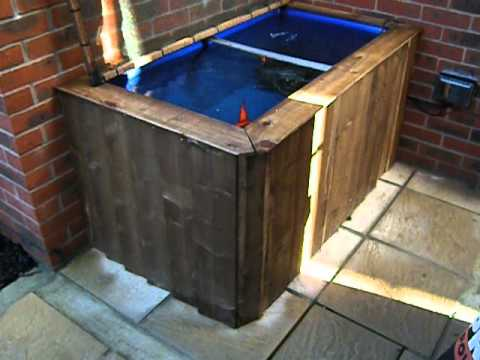 Raised goldfish pond for a small space youtube for Pond made from pallets