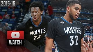 Karl-Anthony Towns & Andrew Wiggins Full Highlights at Pelicans (2016.01.19) - 41 Pts!