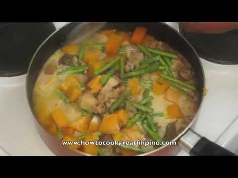 Paano magluto Ginatang Kalabasa at Baboy - Pumkin & Pork recipe - Tagalog pinoy Filipino cooking