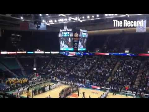 National Anthem as sung by Van Antwerp Middle School at @sienasaints vs @GoBonnies game at #TUC