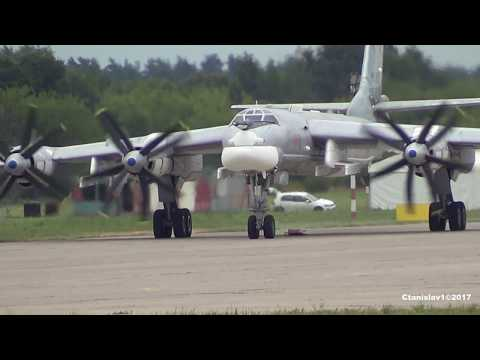 TU-95 Engine Start, Taxi And Takeoff From MAKS-2017