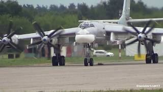 TU-95 ТУ-95 Engine start, taxi and takeoff from MAKS-2017